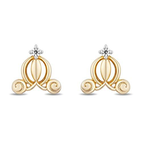 Enchanted Disney Fine Jewelry 14K Yellow Gold over Sterling Silver Diamond Accent Cinderella Carriage Earring