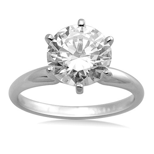 Jewelili 8mm Round White Swarovski Zirconia 10K White Gold Solitaire Engagement Ring, Size 10