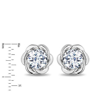 Enchanted Disney Fine Jewelry 14K White Gold with 1 1/2 cttw Diamond Belle Solitaire Earrings