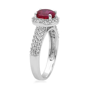 Jewelili 10kt White Gold 7mm Created Gemstone and Created White Sapphire Halo Ring