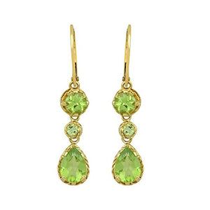 Jewelili 14K Yellow Gold Pear and Round Peridot Lever back Dangle Earrings