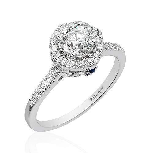 Enchanted Disney Fine Jewelry 14K White Gold 1.00 cttw Diamond with Blue Sapphire Cinderella Carriage Bridal Ring