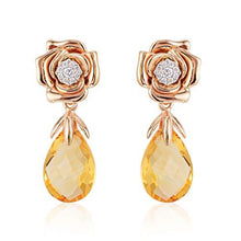 Load image into Gallery viewer, Enchanted Disney Fine Jewelry 14K White and Rose Gold with 1/10 cttw Diamond and Citrine Belle Rose Earrings