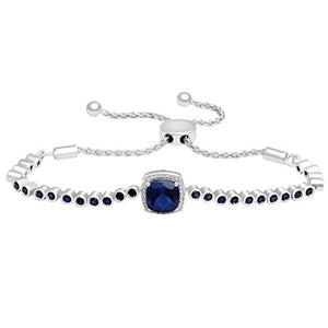 Jewelili Sterling Silver Created Sapphire and Created White Sapphire Bolo Bracelet