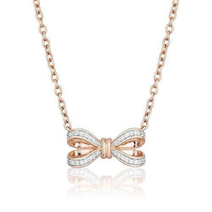 Enchanted Disney Fine Jewelry 10K Rose Gold 1/10CTTW Snow White Bow Necklace