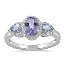 Load image into Gallery viewer, Jewelili 10kt White Gold 7x5mm Oval Tanzanite, 4x3mm Pear Tanzanite and 1/10cttw Round Natural White Diamond Ring, Size 6