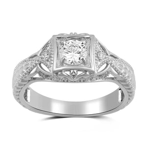 Jewelili Sterling Silver Cubic Zirconia Vintage Wedding Engagement Ring