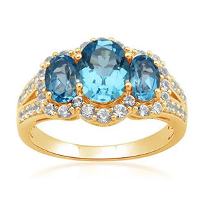 Jewelili Sterling Silver with Gold Plated Blue Topaz Oval and Created White Sapphire Three Stone Ring