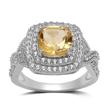 Load image into Gallery viewer, Jewelili Sterling Silver 8mm Cushion Cut Citrine and Round Created White Sapphire Halo Ring