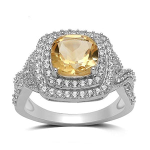 Jewelili Sterling Silver 8mm Cushion Cut Citrine and Round Created White Sapphire Halo Ring