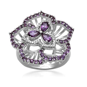 Jewelili Sterling Silver Pear And Round Amethyst And Diamond Flower Ring, Size 7