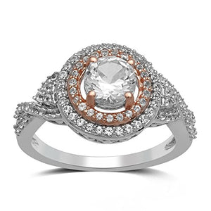 Jewelili 14k Rose Gold Plated Sterling Silver 6mm (1.25ct) Center Round Created White Sapphire Halo Ring, Size 7