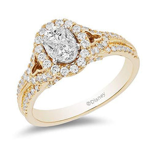 Enchanted Disney Fine Jewelry 14K Yellow Gold 1.00Cttw Jasmine Bridal Ring