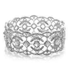 Load image into Gallery viewer, Jewelili Sterling Silver White Topaz and Clear Crystal Bangle