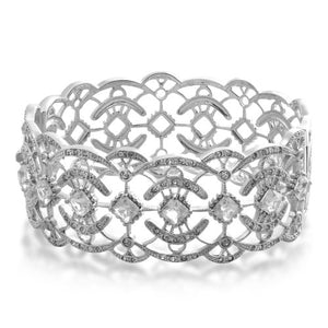 Jewelili Sterling Silver White Topaz and Clear Crystal Bangle