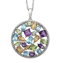 Load image into Gallery viewer, Jewelili Swiss Blue Topaz, Amethyst, Citrine and Peridot Sterling Silver Pendant