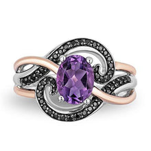 Load image into Gallery viewer, Enchanted Disney Fine Jewelry Sterling Silver with Rose Gold Plating, Black Rhodium 1/5cttw and Amethyst Ursula Ring