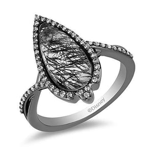 Enchanted Disney Fine Jewelry Sterling Silver with Black Rhodium 1/4 cttw Diamond with Rutile Quartz Maleficent Ring