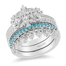 Load image into Gallery viewer, Enchanted Disney Fine Jewelry 10K White Gold 1/4Ctw Paribha Topaz Merida Trio Set Ring