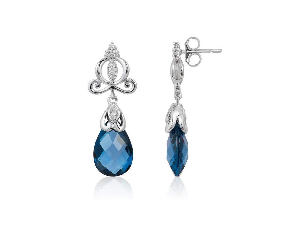 Enchanted Disney Fine Jewelry 14K White Gold 1/8CTTW Diamond and London Blue Topaz Cinderella Earrings