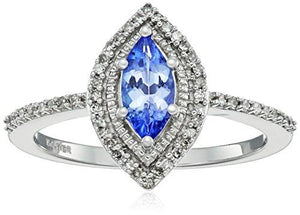 Jewelili 10k White Gold Marquise Tanzanite with White Diamond Fashion Ring, Size 7