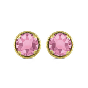 Jewelili 10K Yellow Gold with 4 CTTW Ruby Crystal Diamond Earring