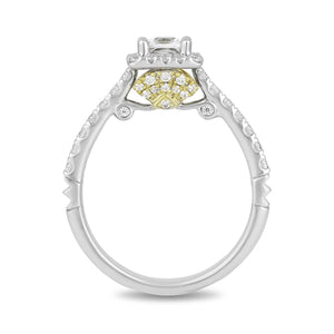 Enchanted Disney Fine Jewelry 14K White and Yellow Gold 1 CTTW Ariel Shell Bridal Ring