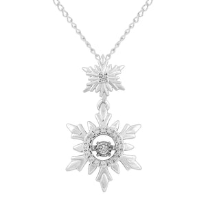 Enchanted Disney Fine Jewelry Sterling Silver 1/10Cttw Elsa Snowflake Pendant Necklace