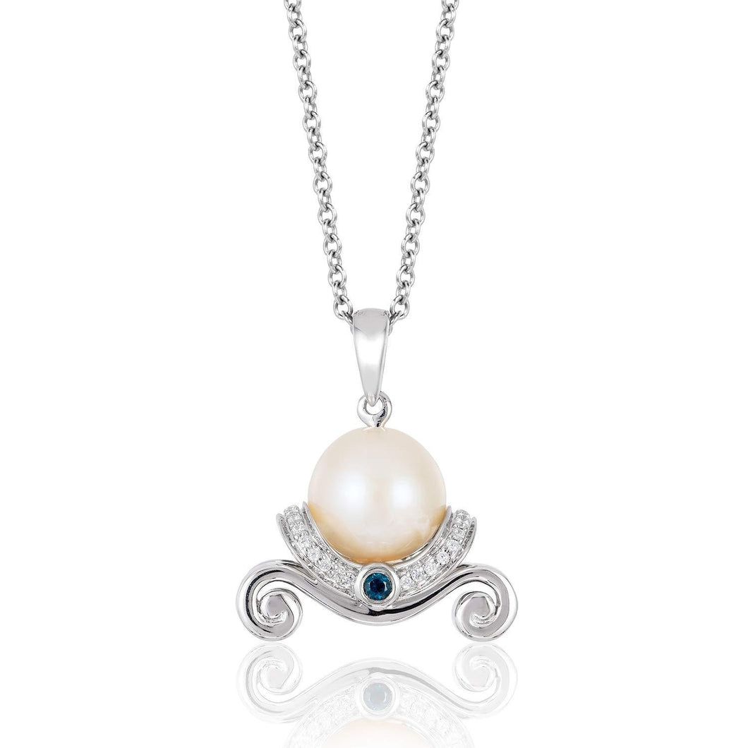 Enchanted Disney Fine Jewelry Sterling Silver 1/10 CTTW Cinderella Pearl & London Blue Topaz Pendant