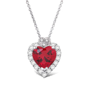 Jewelili Sterling Silver, Created Ruby, Created White Sapphire, and Diamond Heart Pendant Necklace (.015 cttw, I-J Color, I2-I3 Clarity), 18""