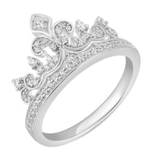 Load image into Gallery viewer, Enchanted Disney Fine Jewelry Sterling Silver 1/4Cttw Majestic Princess Crown Ring