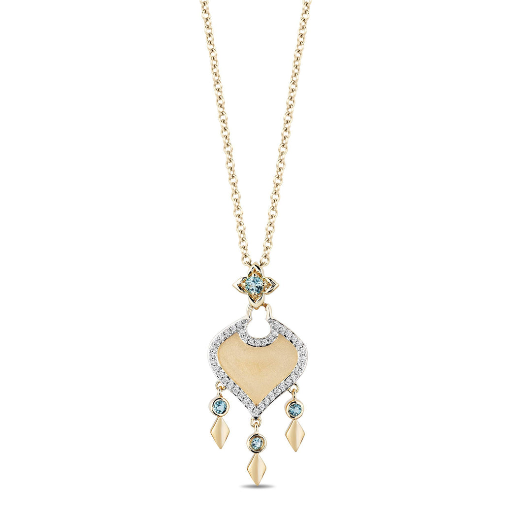 Enchanted Disney Fine Jewelry 10K Yellow Gold with 1/10 Cttw Diamond and Swiss Blue Topaz Jasmine Pendant