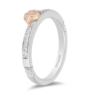 Enchanted Disney Fine Jewelry Sterling Silver and 10K Rose Gold 1/10CTTW Ariel Ring