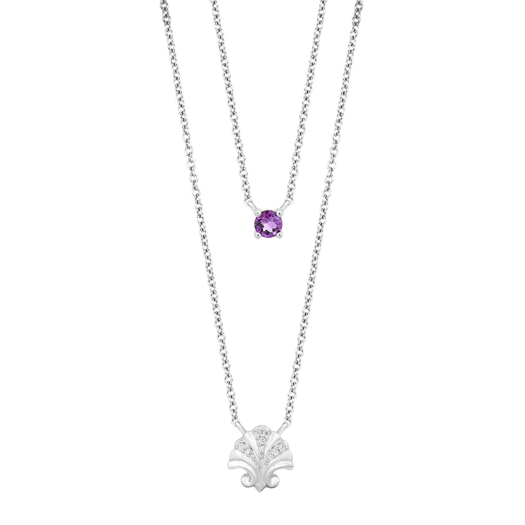 Enchanted Disney Fine Jewelry Sterling Silver with Diamond Accent and Amethyst Ariel Double Chain Necklace