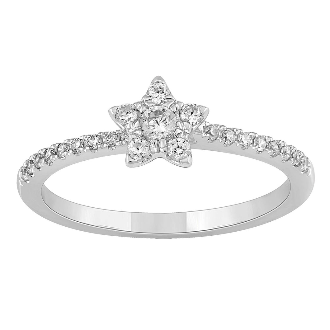 Enchanted Disney Fine Jewelry 10K White Gold 1/4Cttw Tinker Bell Promise Ring