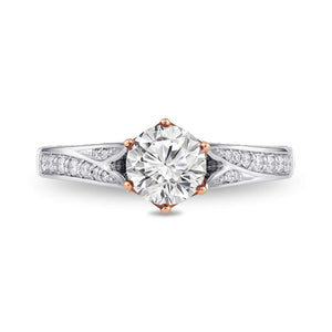 Enchanted Disney Fine Jewelry 14K White Gold and Rose Gold 1 1/4Cttw Majestic Princess Ring.