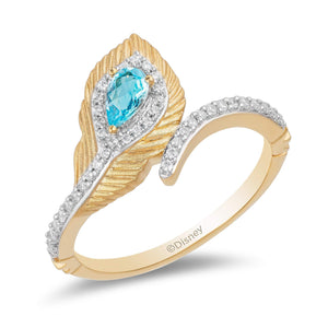 Enchanted Disney Fine Jewelry 10K Yellow Gold 1/6 CTTW Diamond with Swiss Blue Topaz Jasmine Peacock Feather Ring