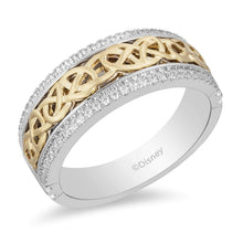 Load image into Gallery viewer, Enchanted Disney Fine Jewelry 14K White and Yellow Gold 1/4 Cttw Mens Ring – inspired by Merida Celtic Knot