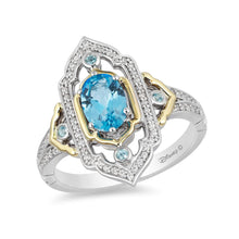 Load image into Gallery viewer, Enchanted Disney Fine Jewelry Sterling Silver and 10K Yellow Gold 1/5CTTW Diamond and Swiss Blue Topaz Jasmine Ring