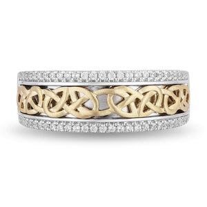 Enchanted Disney Fine Jewelry 14K White and Yellow Gold 1/4 Cttw Mens Ring – inspired by Merida Celtic Knot