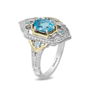 Enchanted Disney Fine Jewelry Sterling Silver and 10K Yellow Gold 1/5CTTW Diamond and Swiss Blue Topaz Jasmine Ring