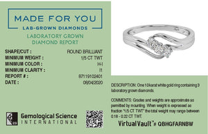 Passion Wave Lab-Grown Diamond Ring in 10kt Gold with 1/5 CTTW