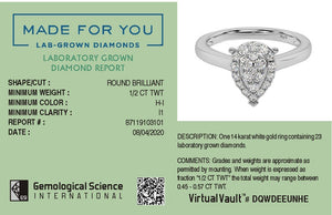 Made for You 14K White Gold 1/2 cttw Lab-Grown Diamond Ring