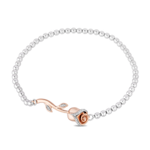 Load image into Gallery viewer, Enchanted Disney Fine Jewelry 10K Rose Gold & Sterling Silver Chain with 1/10 cttw Belle Rose Bracelet