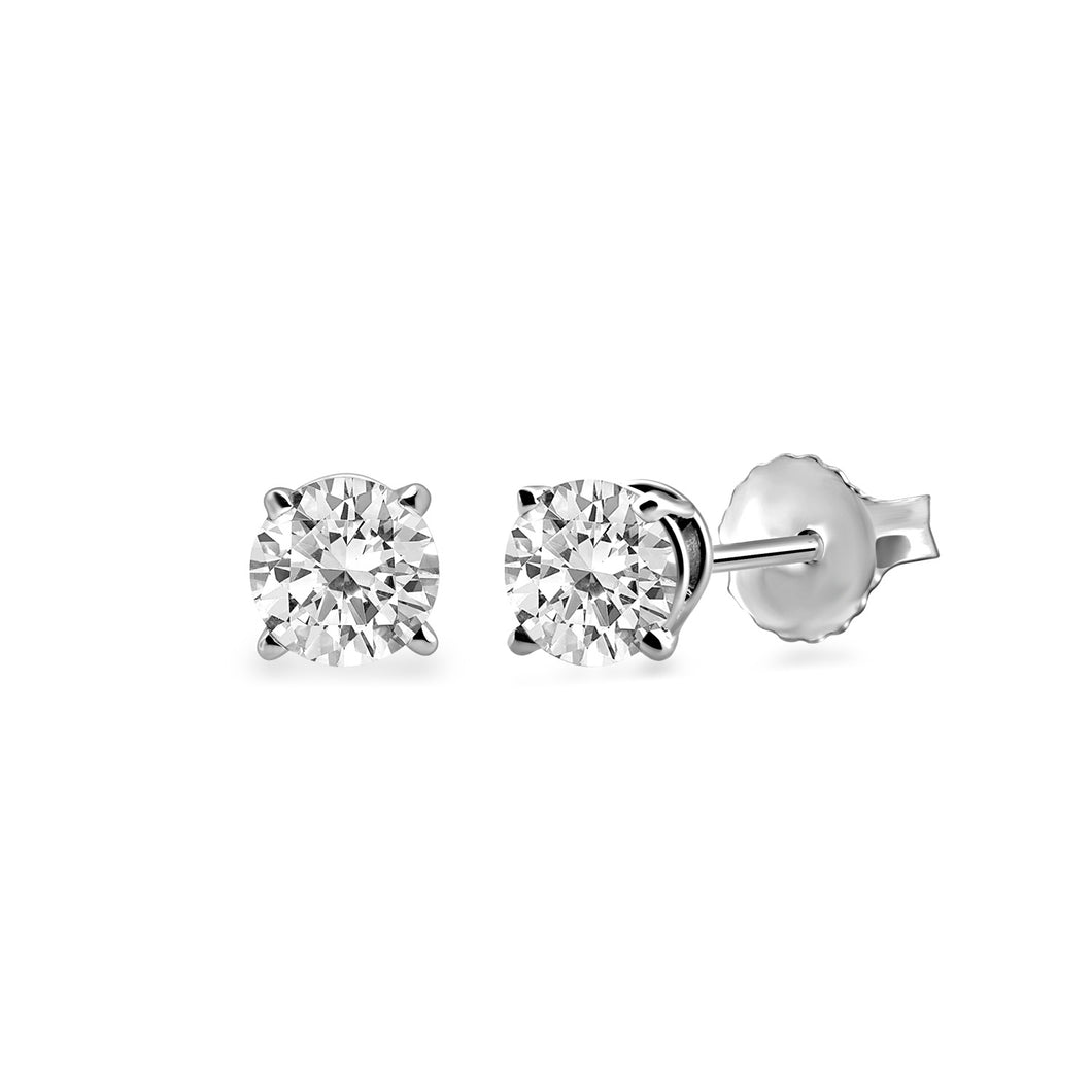 Jewelili 14K White Gold with 3/4cttw Round Diamonds Stud Earrings