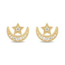 Load image into Gallery viewer, Enchanted Disney Fine Jewelry 10K Yellow Gold 1/10Cttw Jasmine Moon & Star Earrings