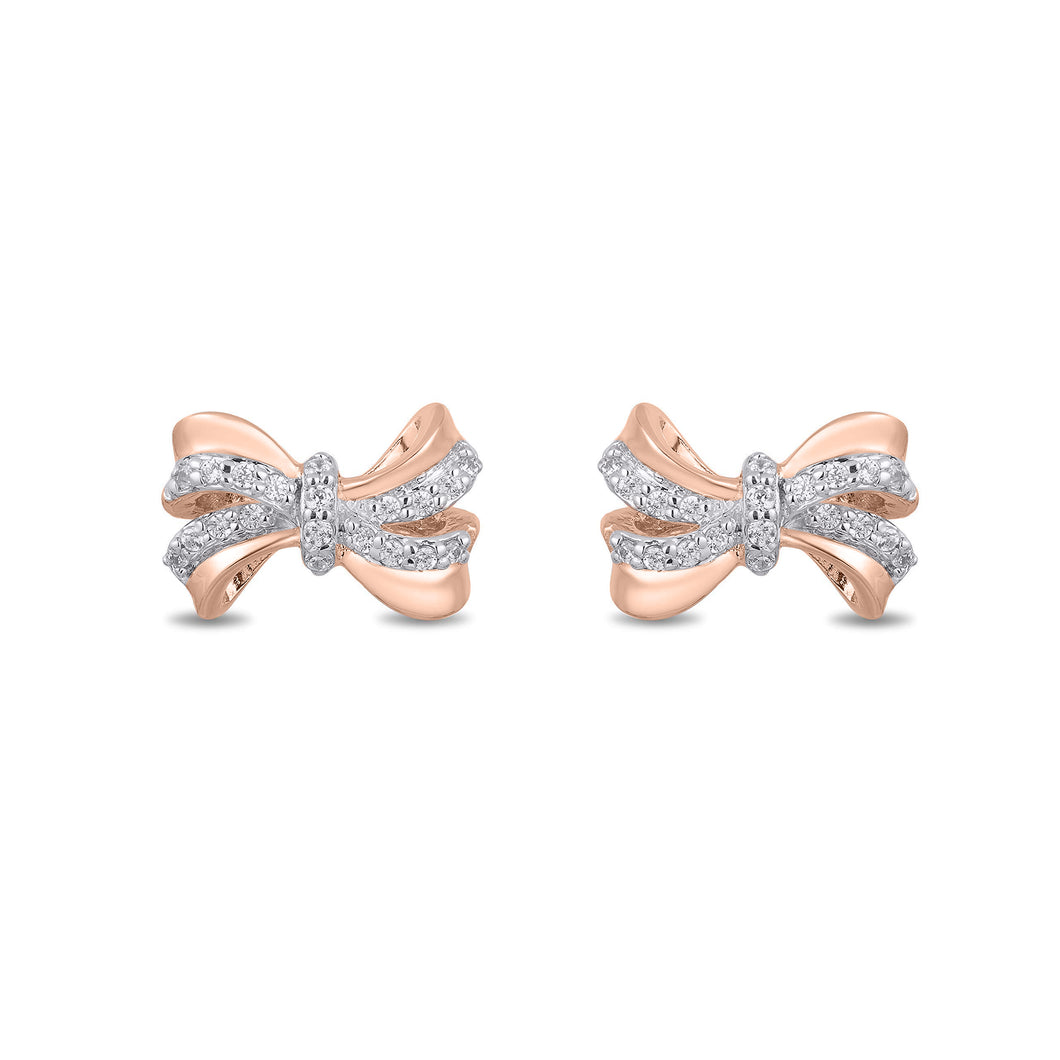 Enchanted Disney Fine Jewelry 10K Rose Gold 1/10Cttw Snow White Bow Earrings