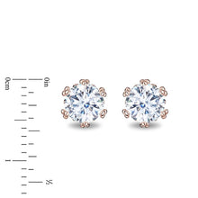 Load image into Gallery viewer, Enchanted Disney Fine Jewelry 14K Rose Gold with 1.00 cttw Diamond Majestic Princess Solitaire Earrings