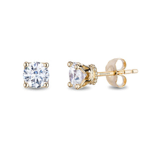 Enchanted Disney Fine Jewelry 14K Yellow Gold with 1 1/2cttw Diamond Majestic Princess Solitaire Earrings