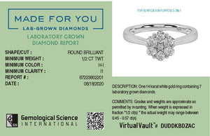 Blooming Lab-Grown Diamond Ring in 14kt Gold with 1/2 CTTW